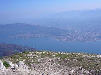 Le Lac du Bourget depuis le sommet de la Dent du Chat, Bourdeau, Savoie